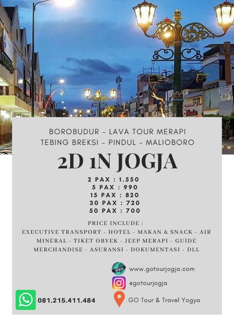 Paket Wisata Jogja 2 Hari 1 Malam 1 Go Tour And Travel Jogja